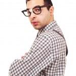 年轻的书呆子眼镜被隔绝在白色背景上的滑稽肖像 — 图库照片