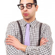 Funny portrait of young nerd with eyeglasses isolated on white background. — Stock Photo