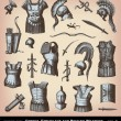 Engraving Greeks, Etruscans and Roman Weapons illustrations. — Stockvectorbeeld