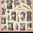 Engraving Greeks, Etruscans and Roman Weapons illustrations. — Imagen vectorial