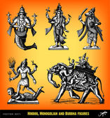 Engraving vintage Hindoo statues set. — Stock Vector