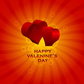 Happy Valentine's card with hearts in 3D effect. — Stock Vector