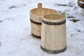 Wooden tubs with their hands — Stock Photo