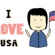 Stock Vector: I love USA.