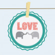 Love elephants card — Imagen vectorial