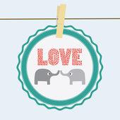 Love elephants card — Stock Vector