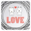 Stock Vector: Cat and dog in love.