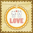 Stock Vector: Cat and dog in love