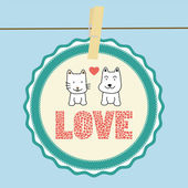 Cat and dog in love — Stock Vector