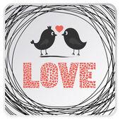 Dva ptáci v lásce. — Stock vektor