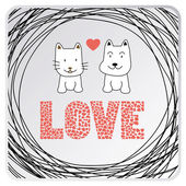 Cat and dog in love. — Stock Vector