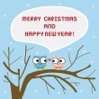 Christmas greeting card with owls on tree — Векторная иллюстрация