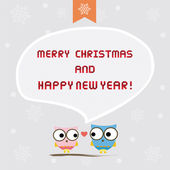 Christmas greeting card with owls — Stock Vector