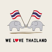 Two elephants hold Thai flag1 — Stock Vector