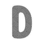 Circle pattern alphabet D — Stockvector