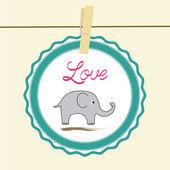 Love elephant card2 — Stock Vector