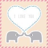 Elephant couple card1 — Vector de stock