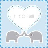 Elephant couple card2 — Stock Vector