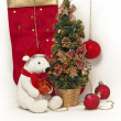 White Teddy Bear with Christmas tree — Stock Photo #16773835
