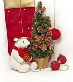 White Teddy Bear with Christmas tree — Stock Photo