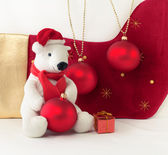 White Teddy Bear with Christmas Baubles — Stock Photo