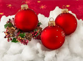Three red Christmas balls — 图库照片
