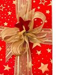 Festive box with golden ribbon — Stock Photo