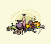 Still life with pumpkin, pear and grapes. — Stock Photo