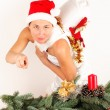 Stock Photo: Womwith Christmas Decoration