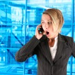 Female caller on blue background — Stock Photo #14097329