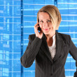 Female caller on blue background — Stock Photo #14097331