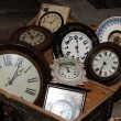 Foto Stock: Group of old clocks