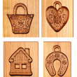 Images carved in wood — Stock Photo