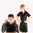 Angry woman and man — Stock Photo