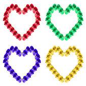 Cuatro corazones de rosas — Foto de Stock