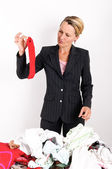 Busines woman laundering — Stock Photo