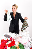 Business woman laundering — Stock Photo