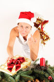 Woman with Christmas Decoration — Foto Stock
