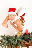 Woman with Christmas Decoration — Stock Photo