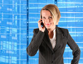 Female caller on a blue background — Stock Photo