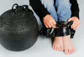 Baby foot with a prison ball — Stock Photo