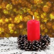 Lighted red candle — Stock Photo