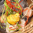 Chicken in a basket - Stock Photo