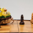 Easter duck on chess table — Stock Photo