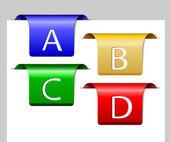 Cuatro separadores coloridos — Vector de stock