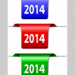 Stock Vector: Red, green and blue 2014 labels