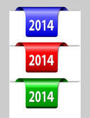 Red, green and blue 2014 labels — Stock Vector