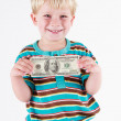 Stock Photo: Boy holding bank note