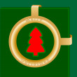 Stock Vector: Christmas tree in middle of Golden Circle