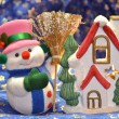 Stock Photo: Christmas snowmand little house
